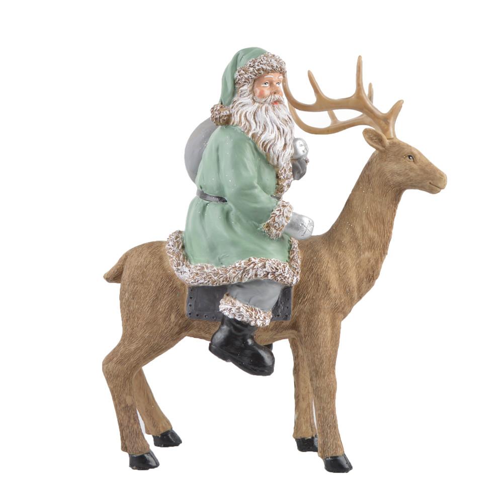 Polyresin christmas Santa Claus rides an elk home tabletop decoration
