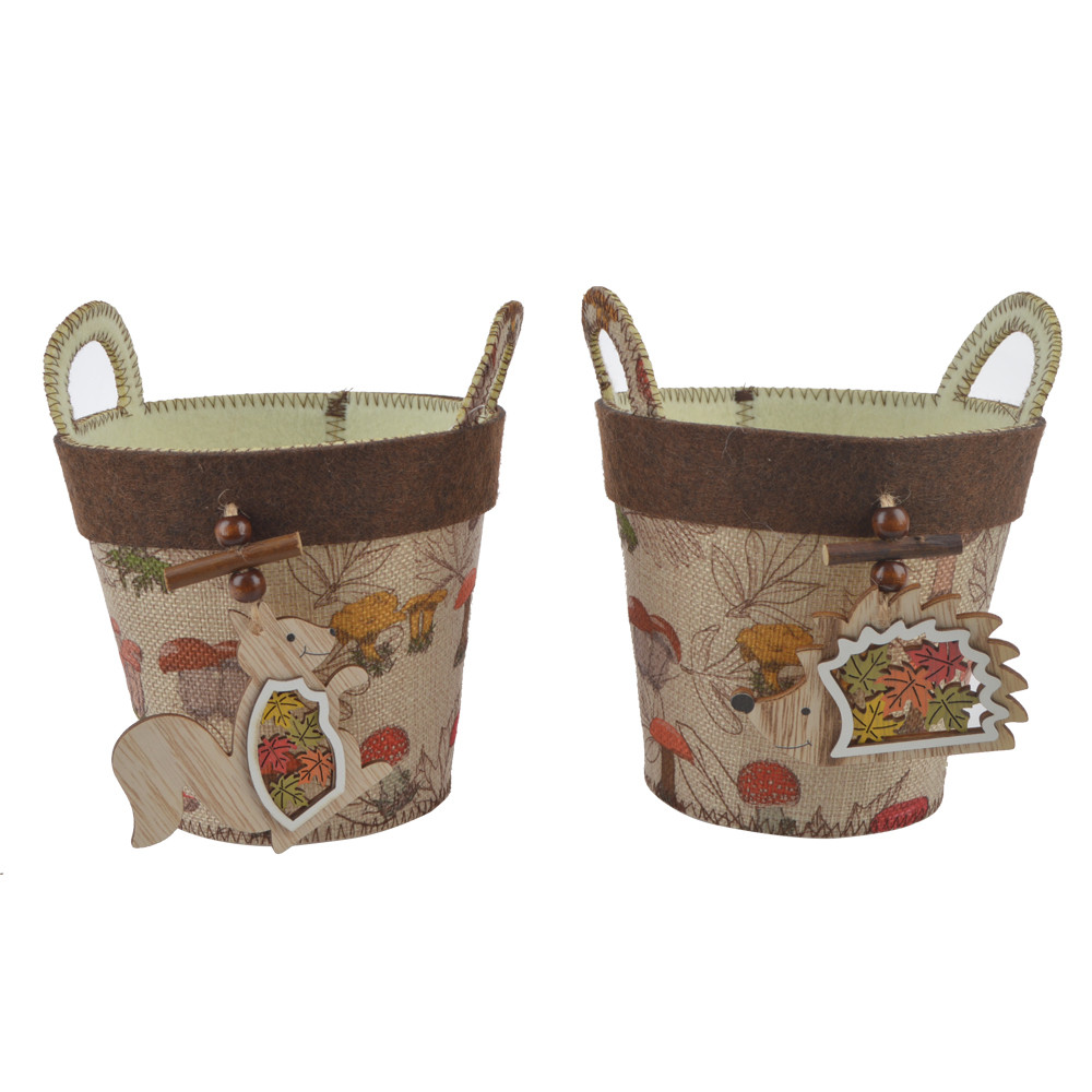 summer decoration fabric box storage bag with wooden squirrel or hedgehog