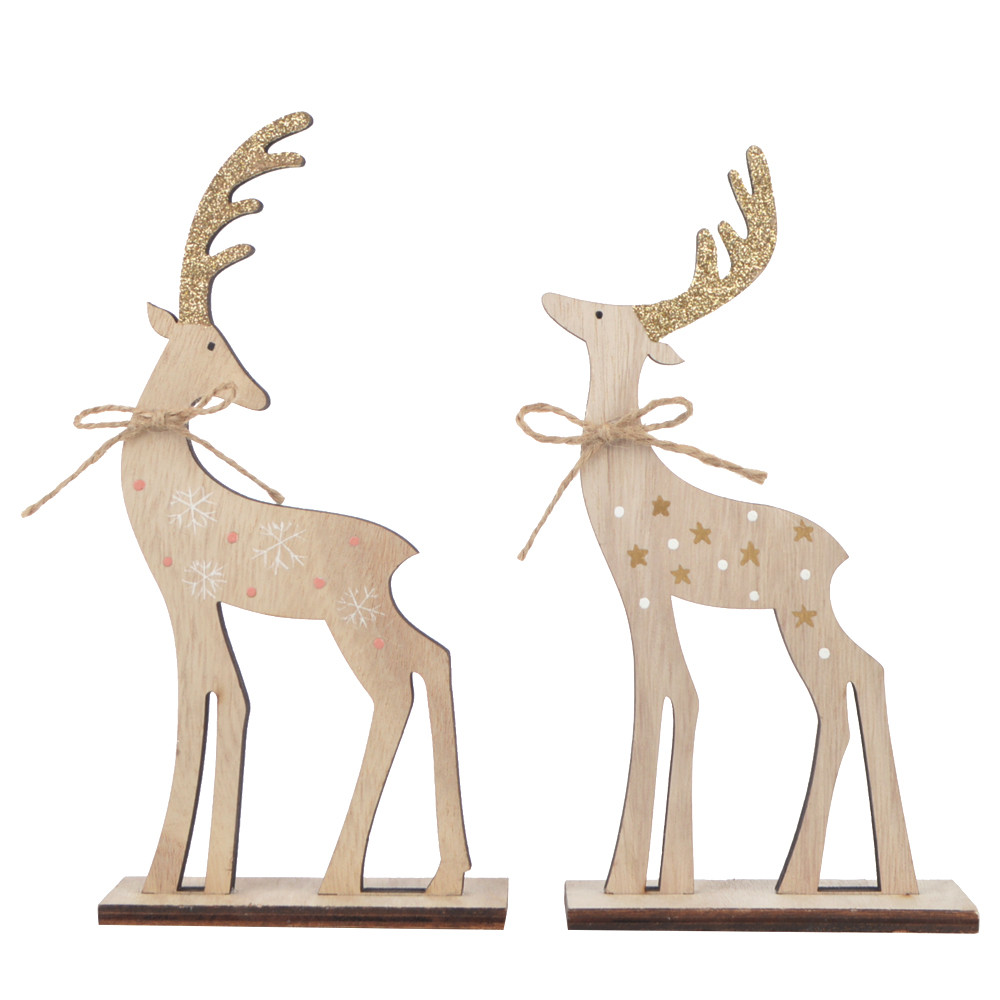 plywood christmas elk with gold dust decoration