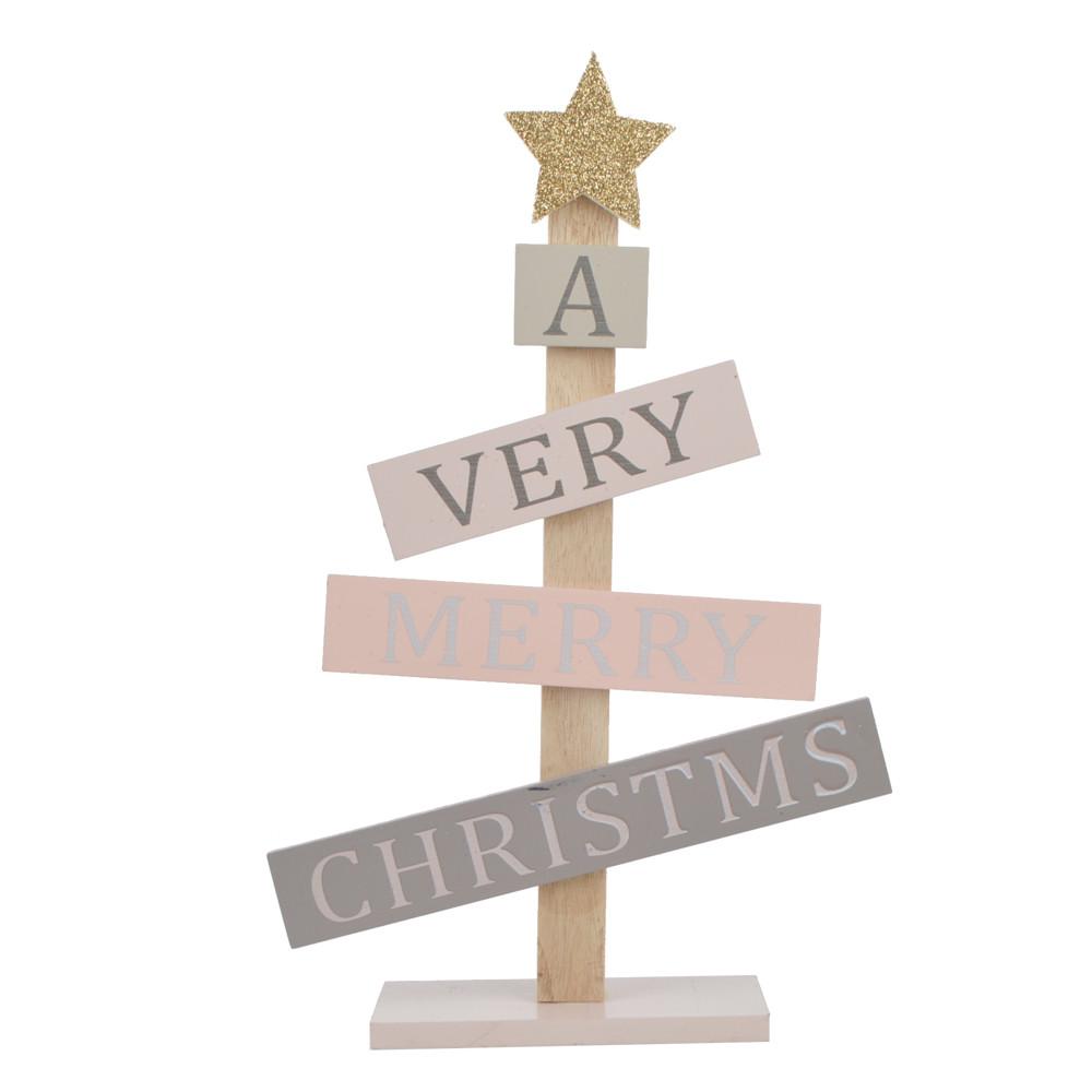 ODM wooden Christmas tree model writes the blessing language desktop decoration