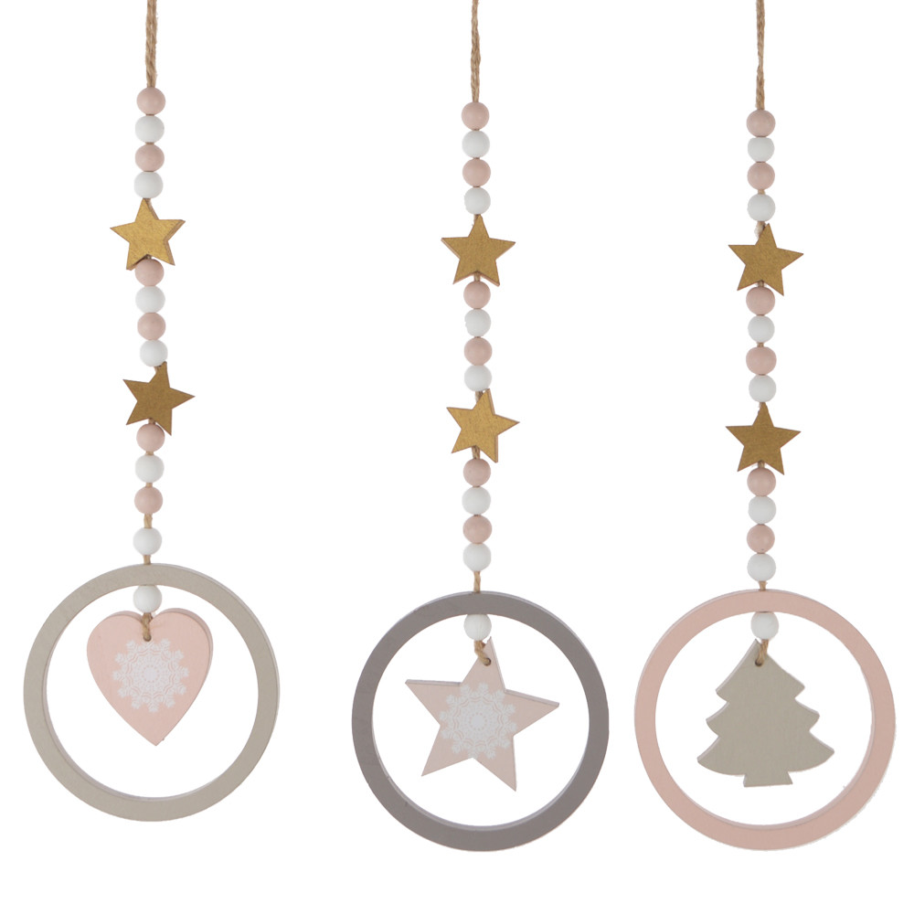 wooden ball hollowed-out star/heart/tree hanging a Christmas tree ornament