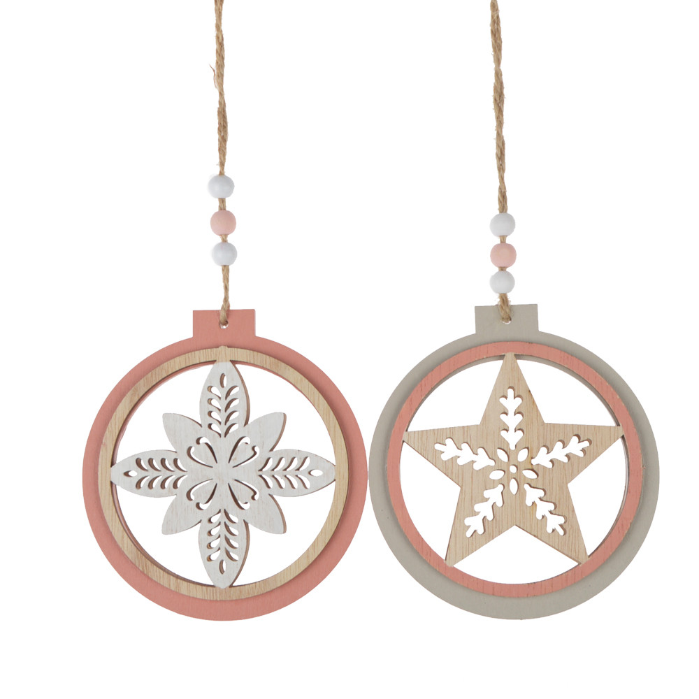 Wooden ball hollowed-out snowflake pendant, Christmas tree ornament