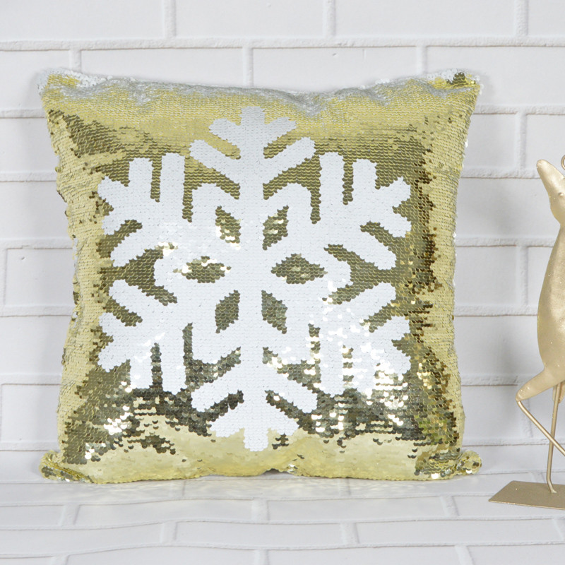 Fashion 40 X 40cm gold and white snowflake sequin Sparkle pillow Christmas gifts Christmas home decor supplie