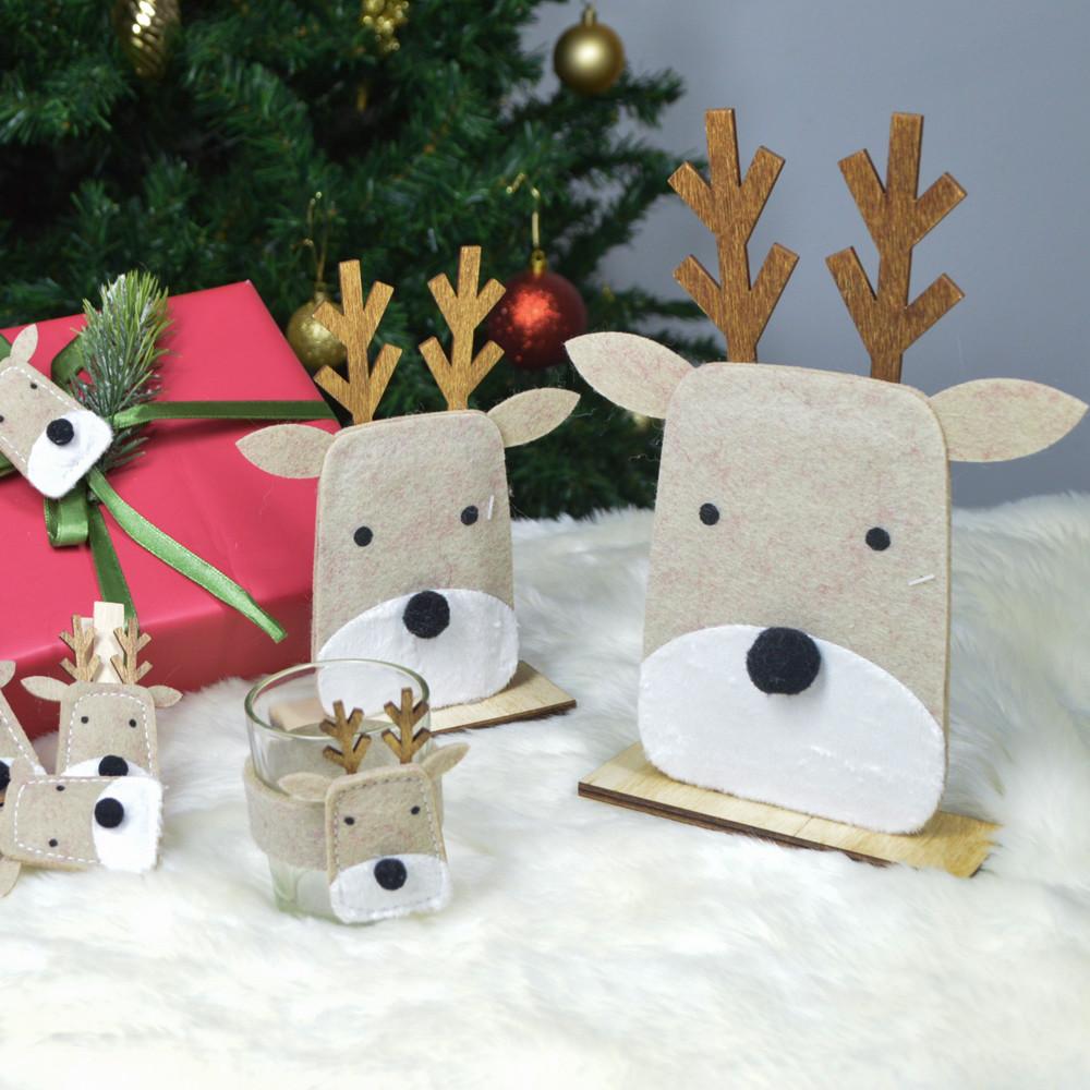 christmas felt standing deer shape desktop decoration