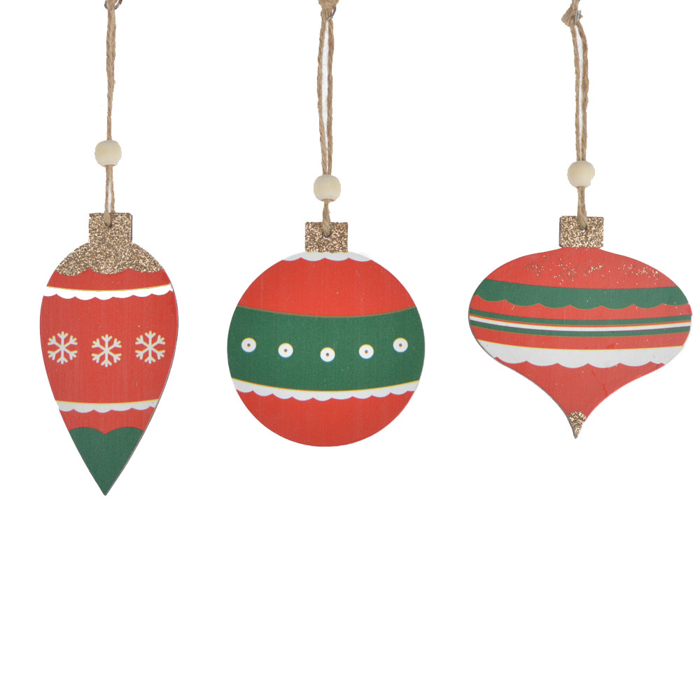 wooden hanging bright color wooden ball Christmas tree ornament