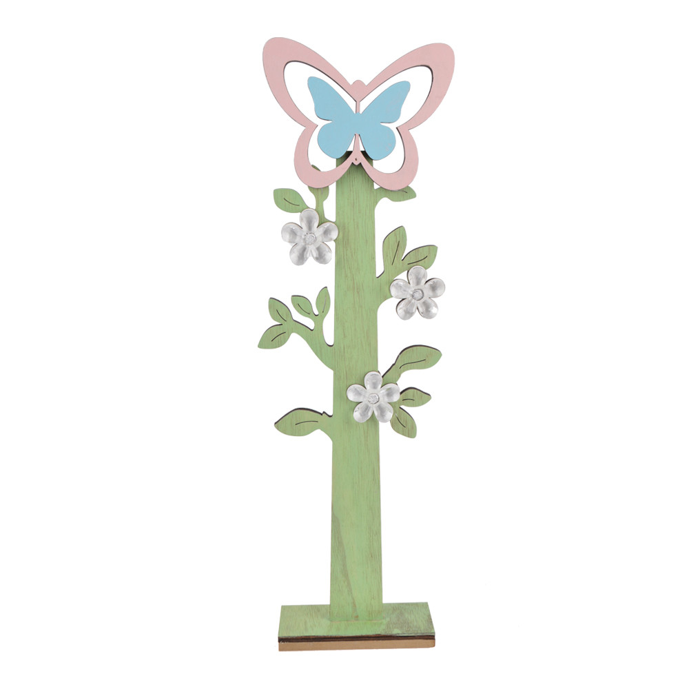 standing wooden tree butterfly/bird/flower shape on top easter craft decoration