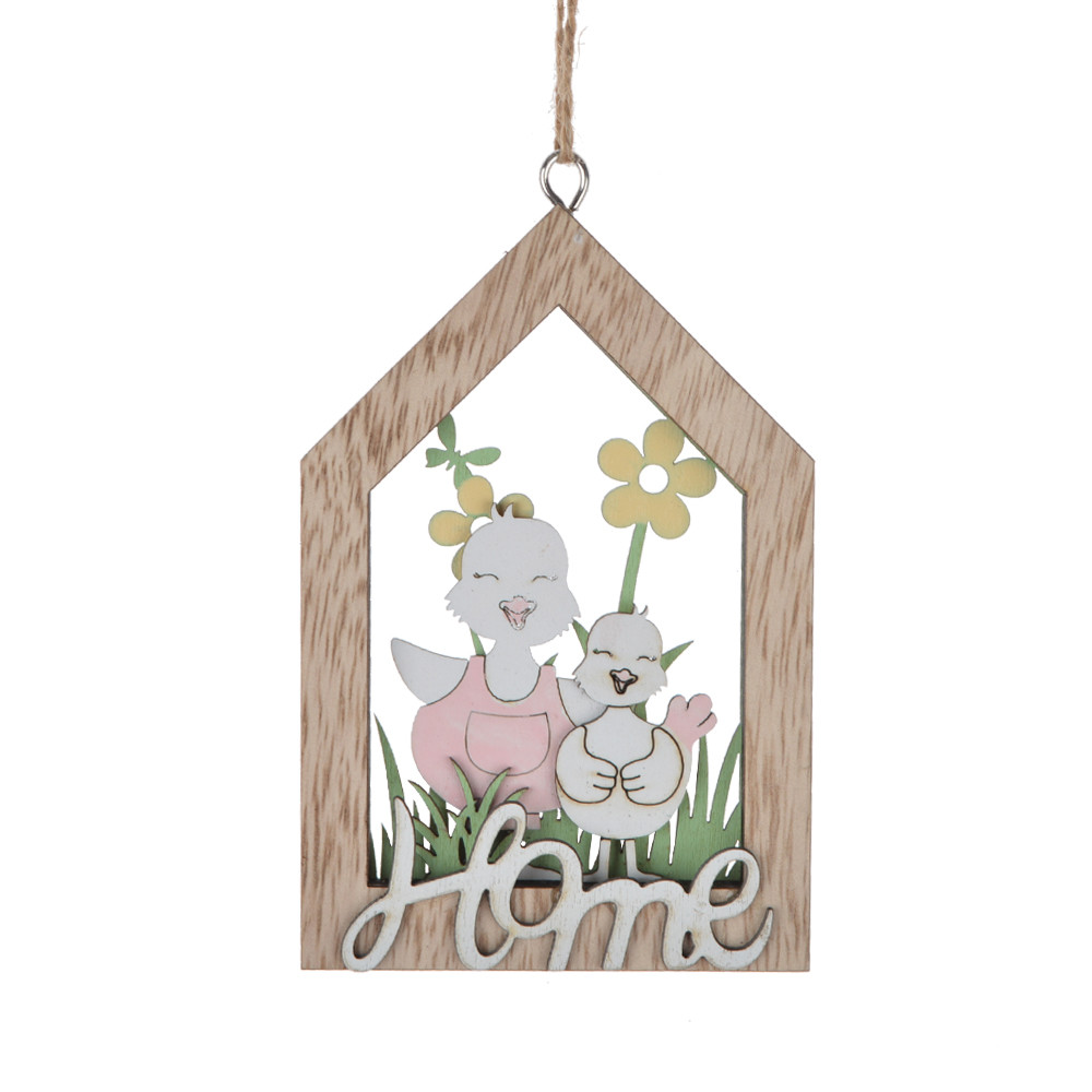 wooden house hanger hollow out easter dropper pendant