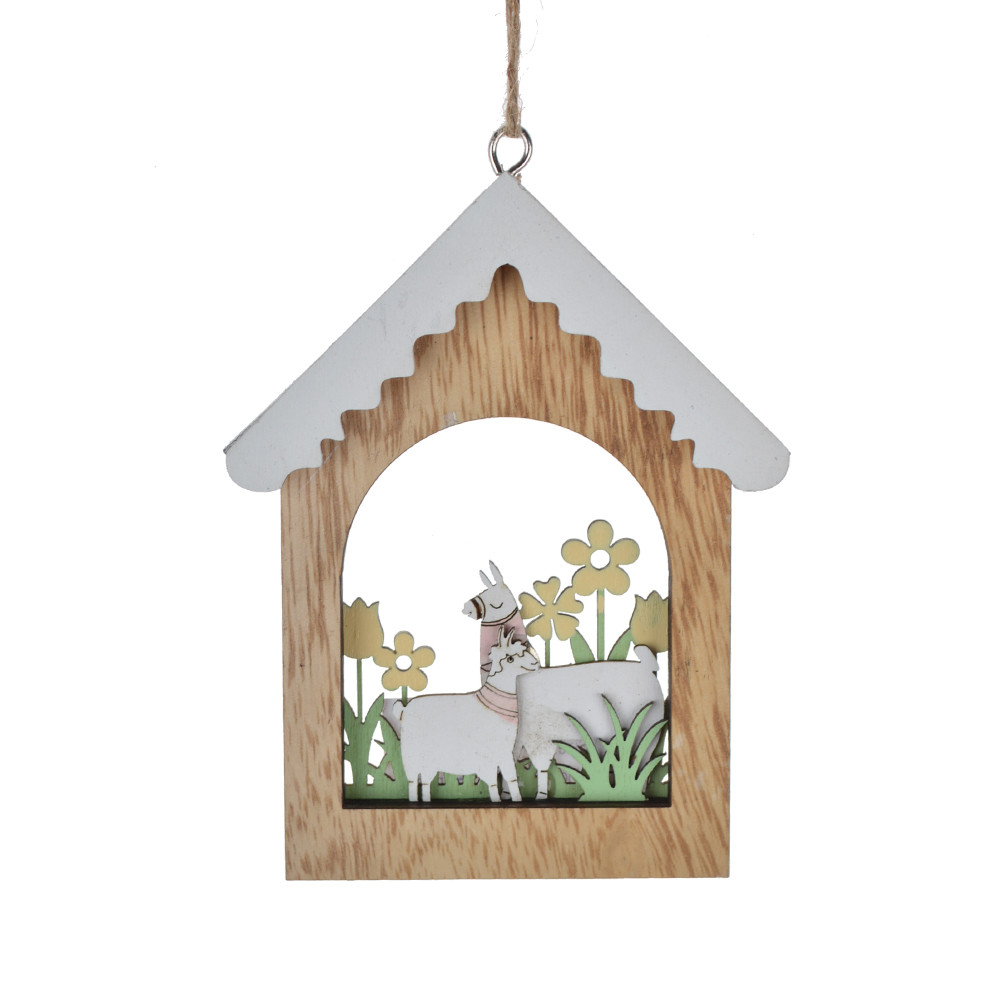 Easter spring ornament house hollow out rabbit /chick /alpaca shape festival gift