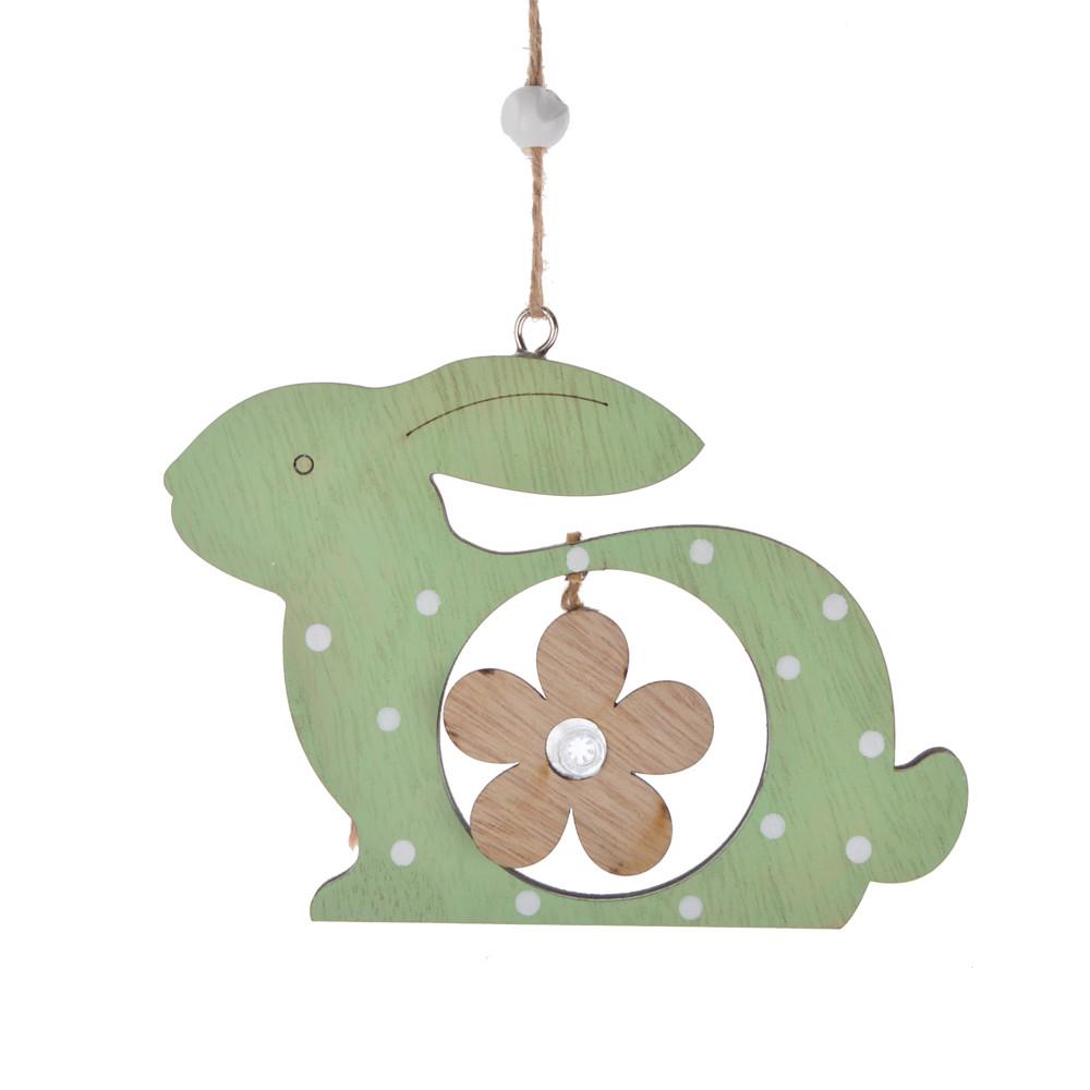 Door hanger wooden bunny shape laser cut wall hanging easter ornament