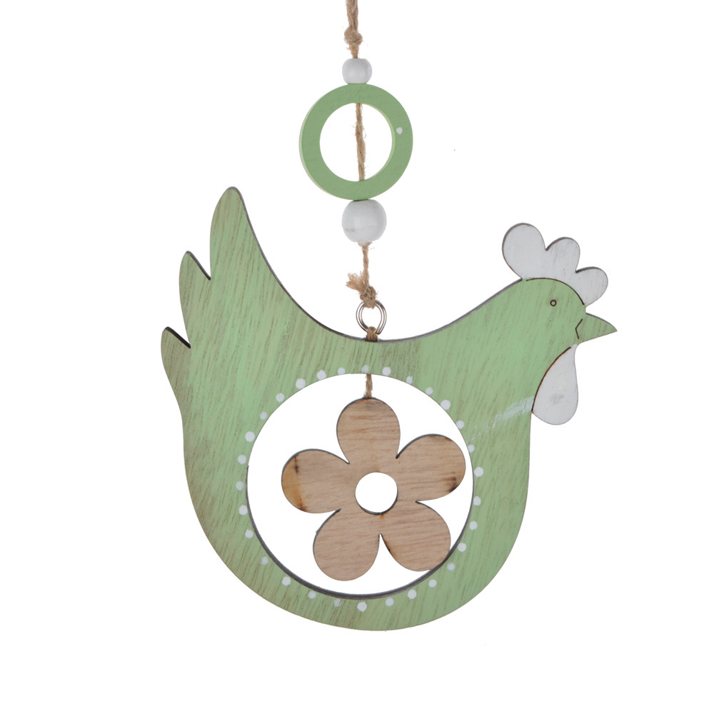 wooden cock shape hanger flower inside laser cut easter ornament festival indoor decoration