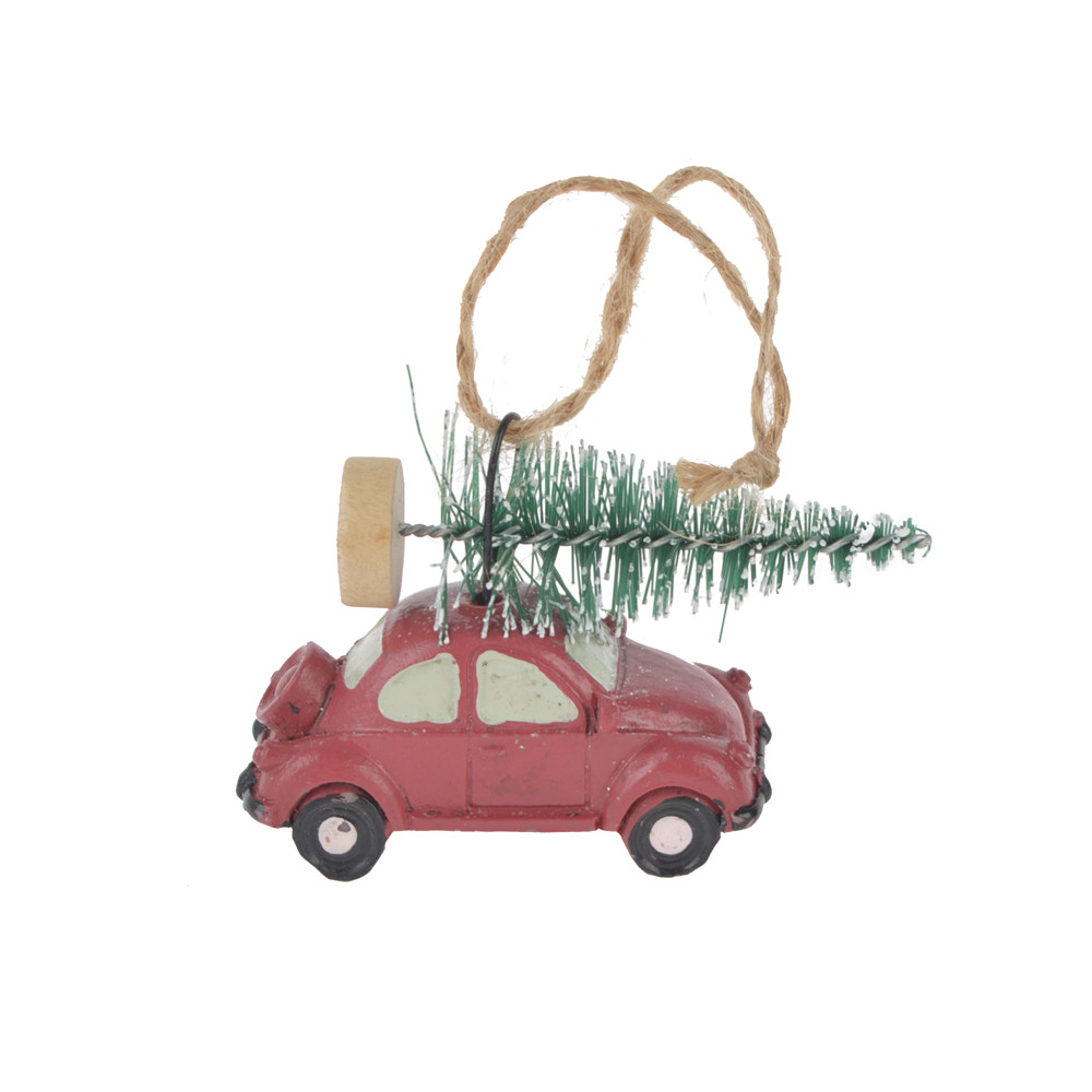 Christmas craft decoration red car carrying tree ornament polyresin hanging