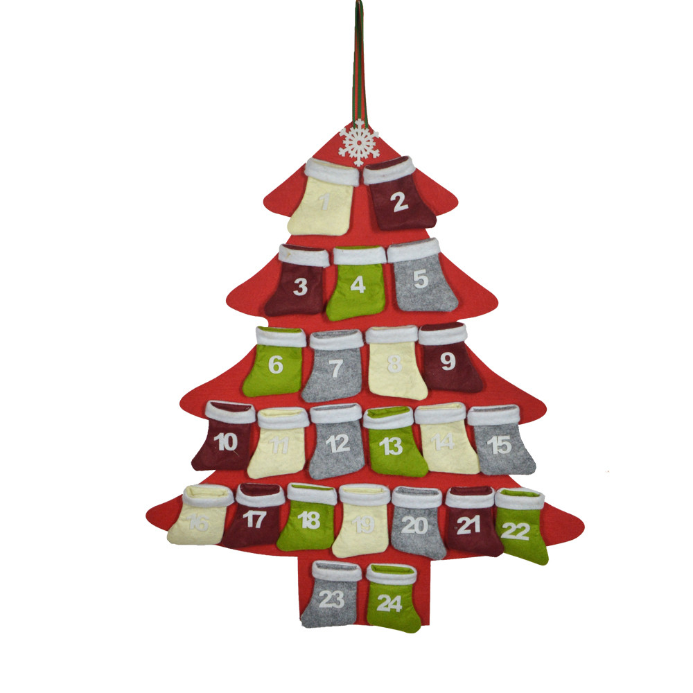 Felt tree shape 1-24 Christmas stocking advent calendar pendent, small bag for children's candy toys