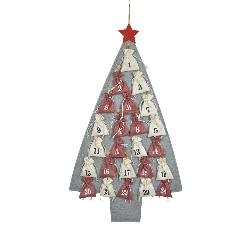High quality felt Christmas tree shape and snow 1-24 candy bag advent calendar pendent