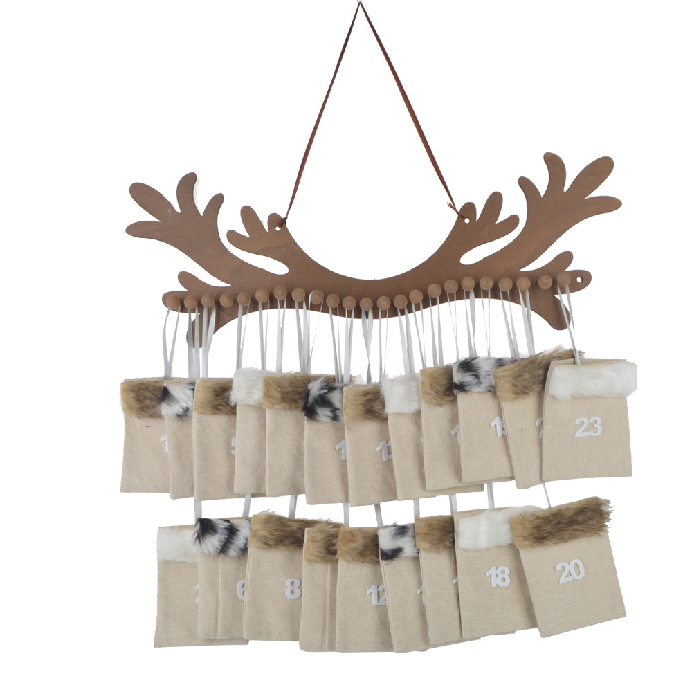Felt antler 1-24 candy toy bag advent calendar pendant