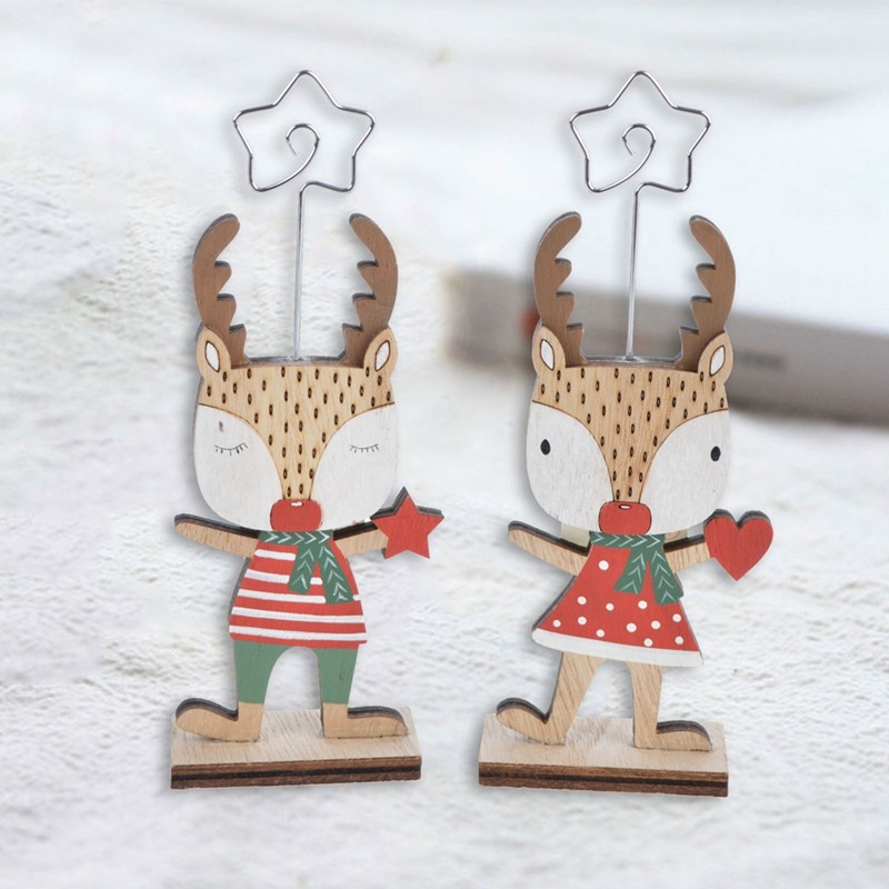 Handmade Christmas reindeer note holder table decorations