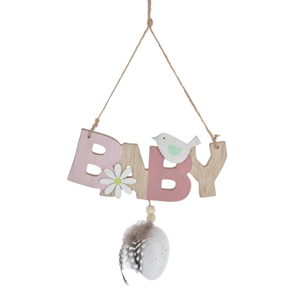 Festival ornament wooden baby/love/you greetings easter egg pendant wall hanger door hanging indoor decoration