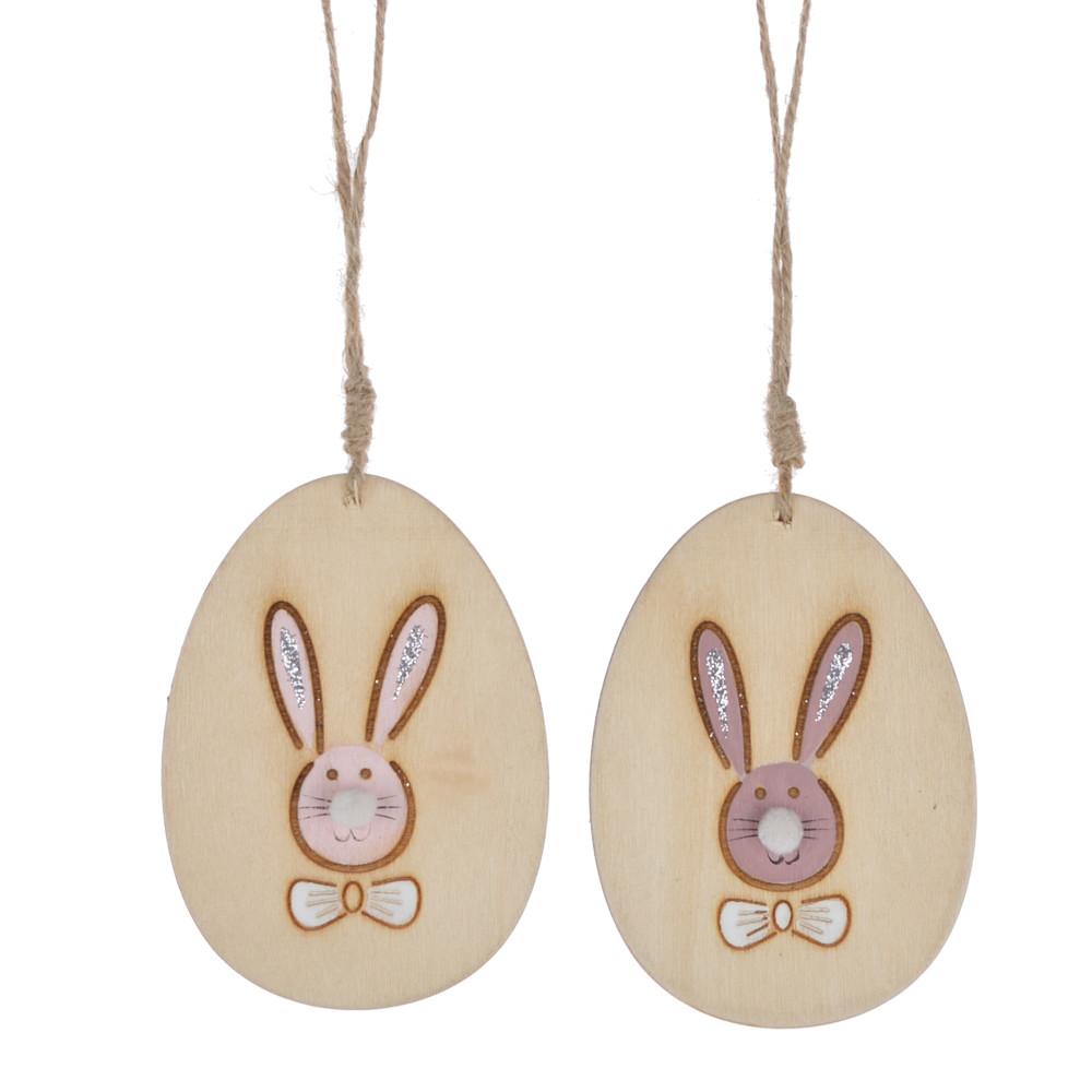 easter wooden egg shape laser cut rabbit pattern wall hanger pendant decoration