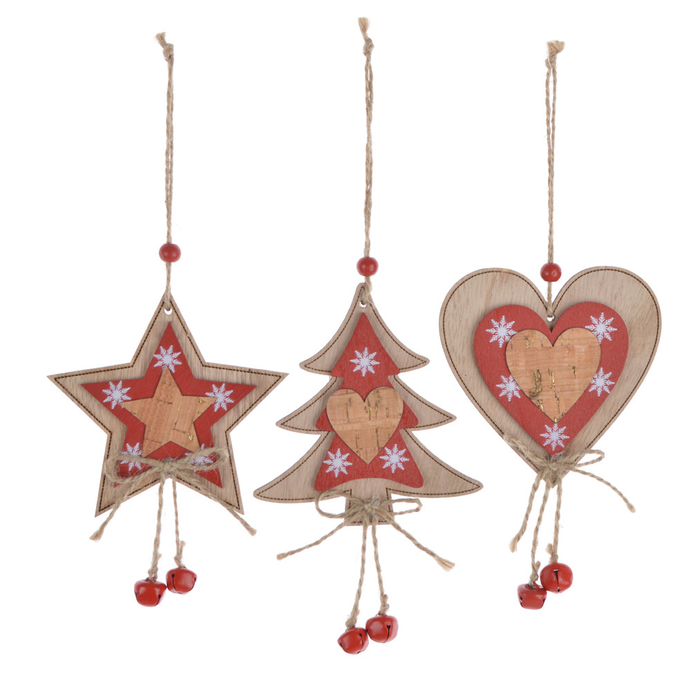 Wooden christmas star heart tree hanging