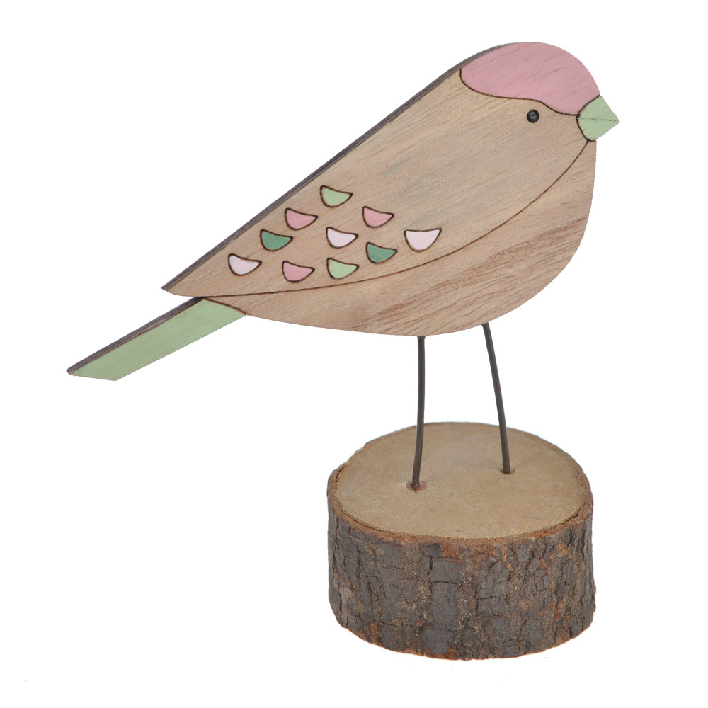 Assorted Wooden natural color Easter spring bird on stump table decoration