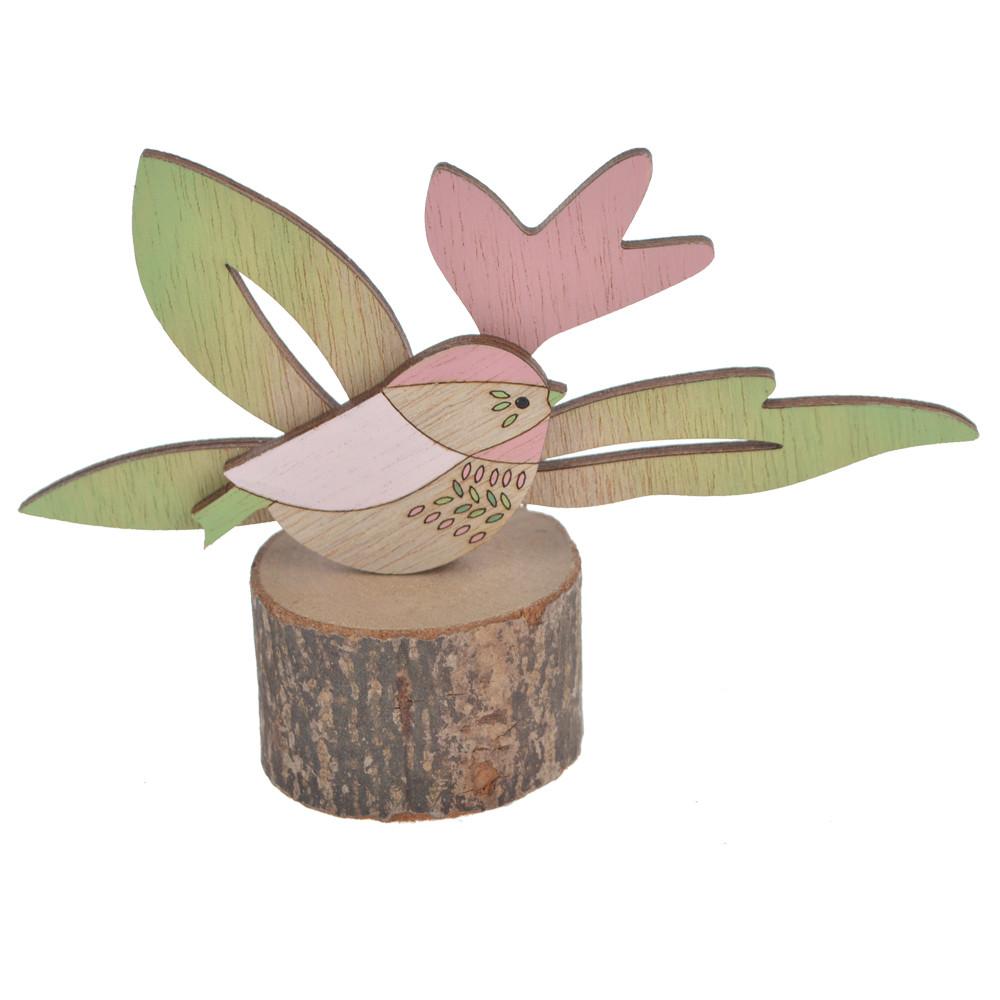 Log Easter spring bird and flower tabletop decoration