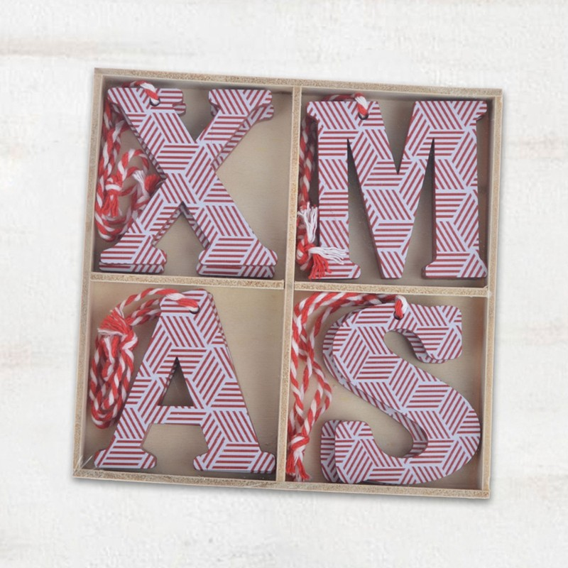 Wooden christmas letter hanging ornaments set of 8pcs