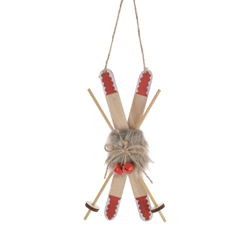 Traditional Christmas wooden sledge hanging Holiday decor
