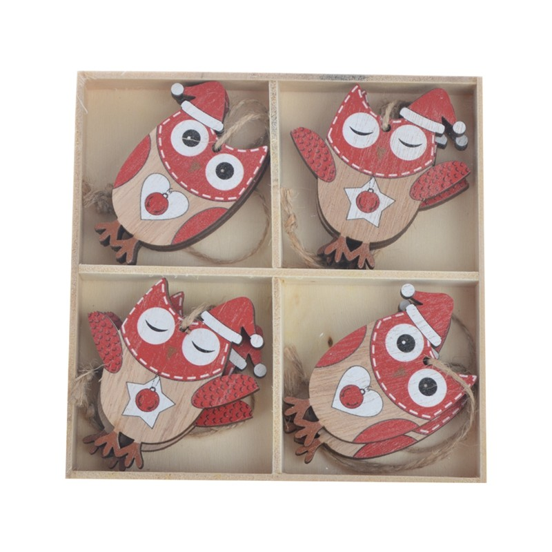 Set of 8pc wooden owl christmas tree hanging  ornaments