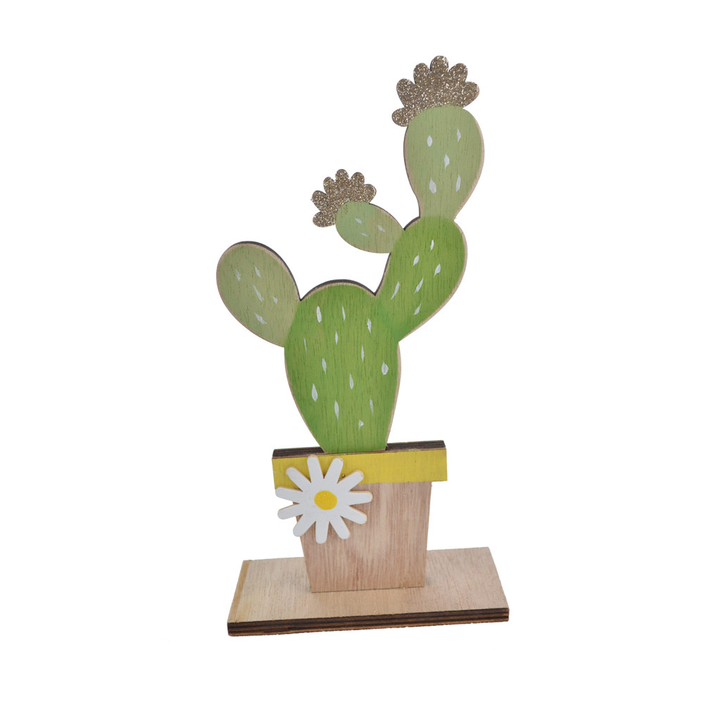 Desktop wooden craft cactus pot shape Party Accessory Cactus Tree Prop for Party Decoration