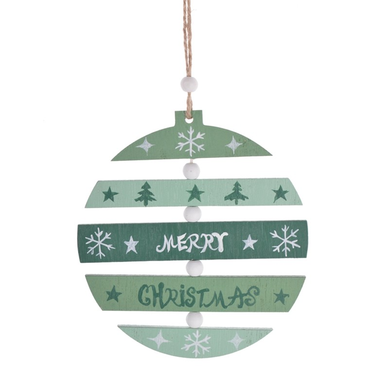Color printing wooden christmas ball hanging Decor