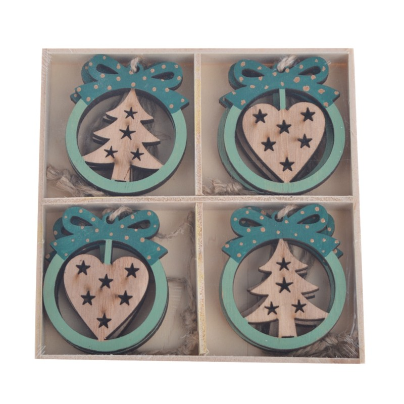 Customized size christmas wooden hanging ornaments