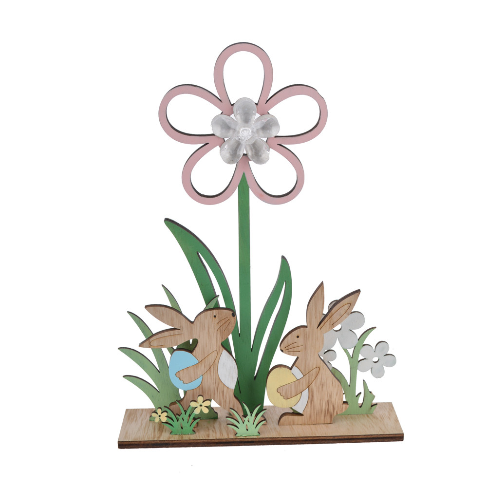 plywood Easter spring colorful rabbit bunny with flower LED tabletop decoration