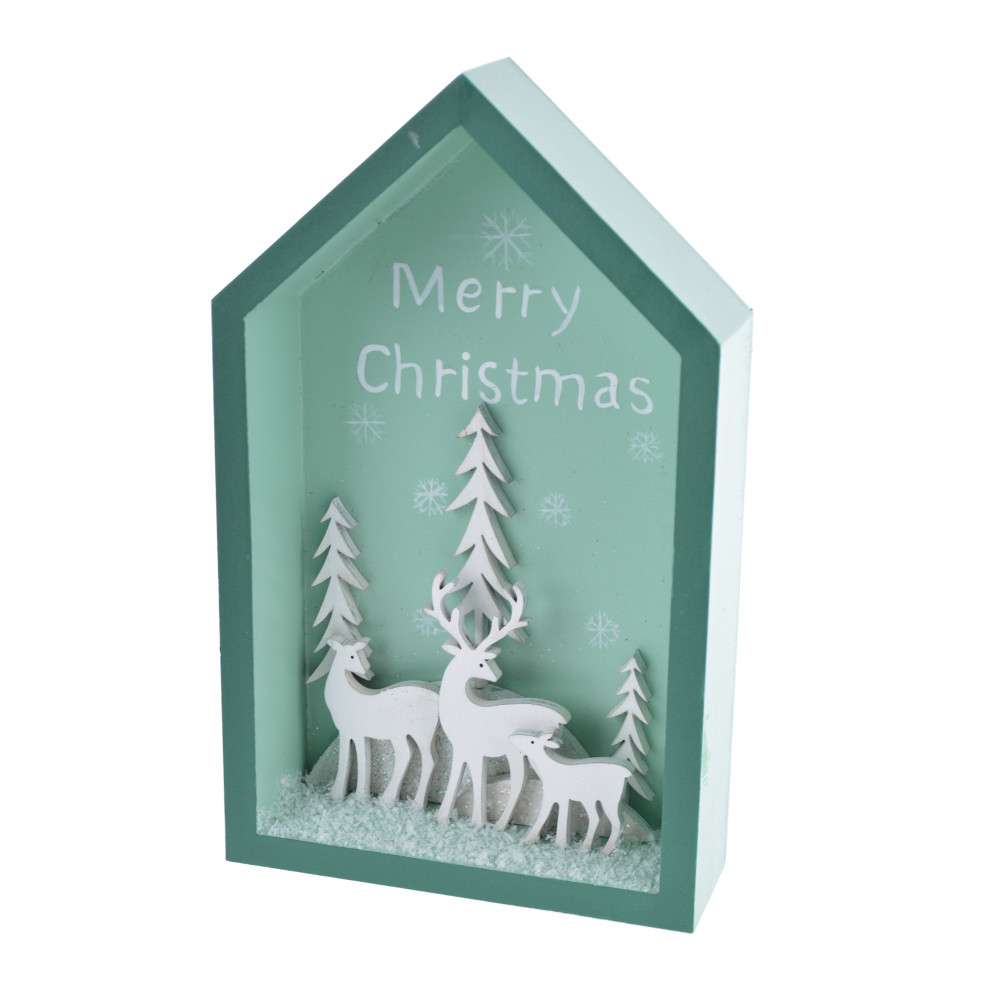 Sell wooden house with elk Merry christmas tabletop ornaments