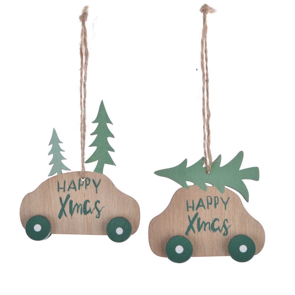 Vintage Wooden car Xmas hanging, Christmas tree decorations