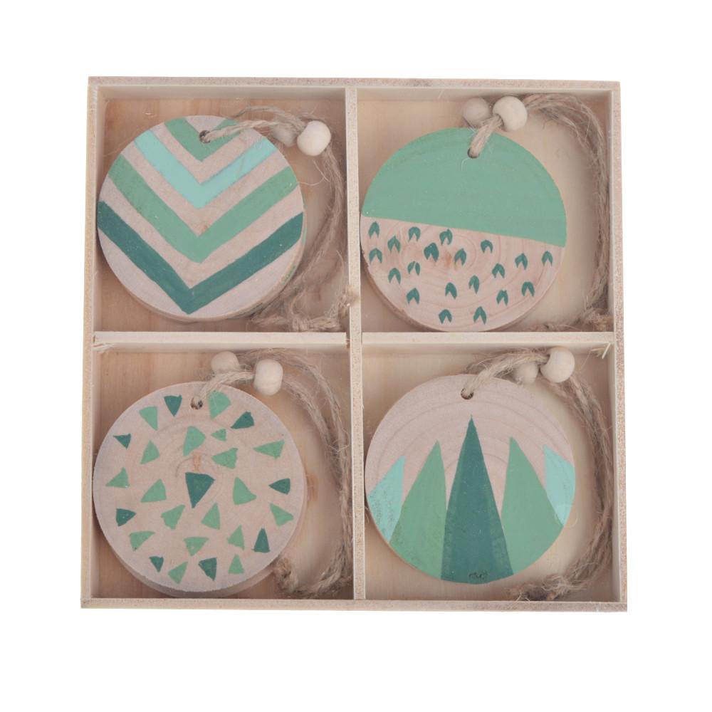 Wooden printing ball pendants set of 8, Christmas tree decorations