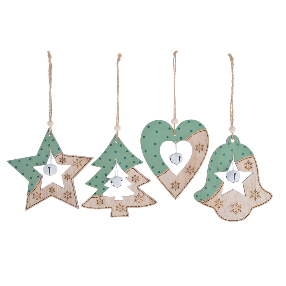 Wood laser heart star tree bell shaped pendant Christmas party tree decorations