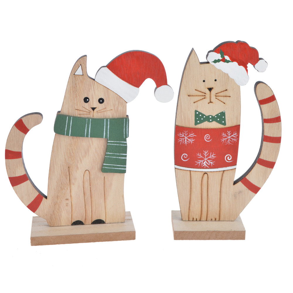 Wooden Christmas ornament with cute winter kittens wrapped in scarves