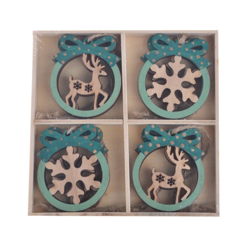 Wooden christmas snowflake hanging with deer pendant