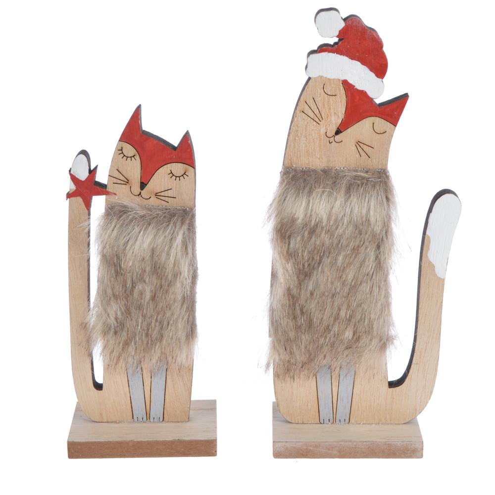 Wooden winter Christmas fluff  fox tabletop decoration