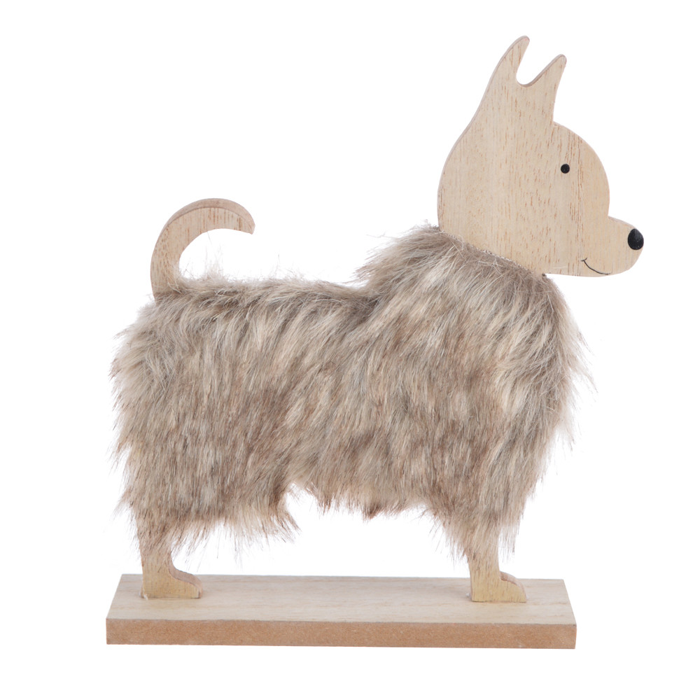 Wooden winter natural color fluffy dog decoration