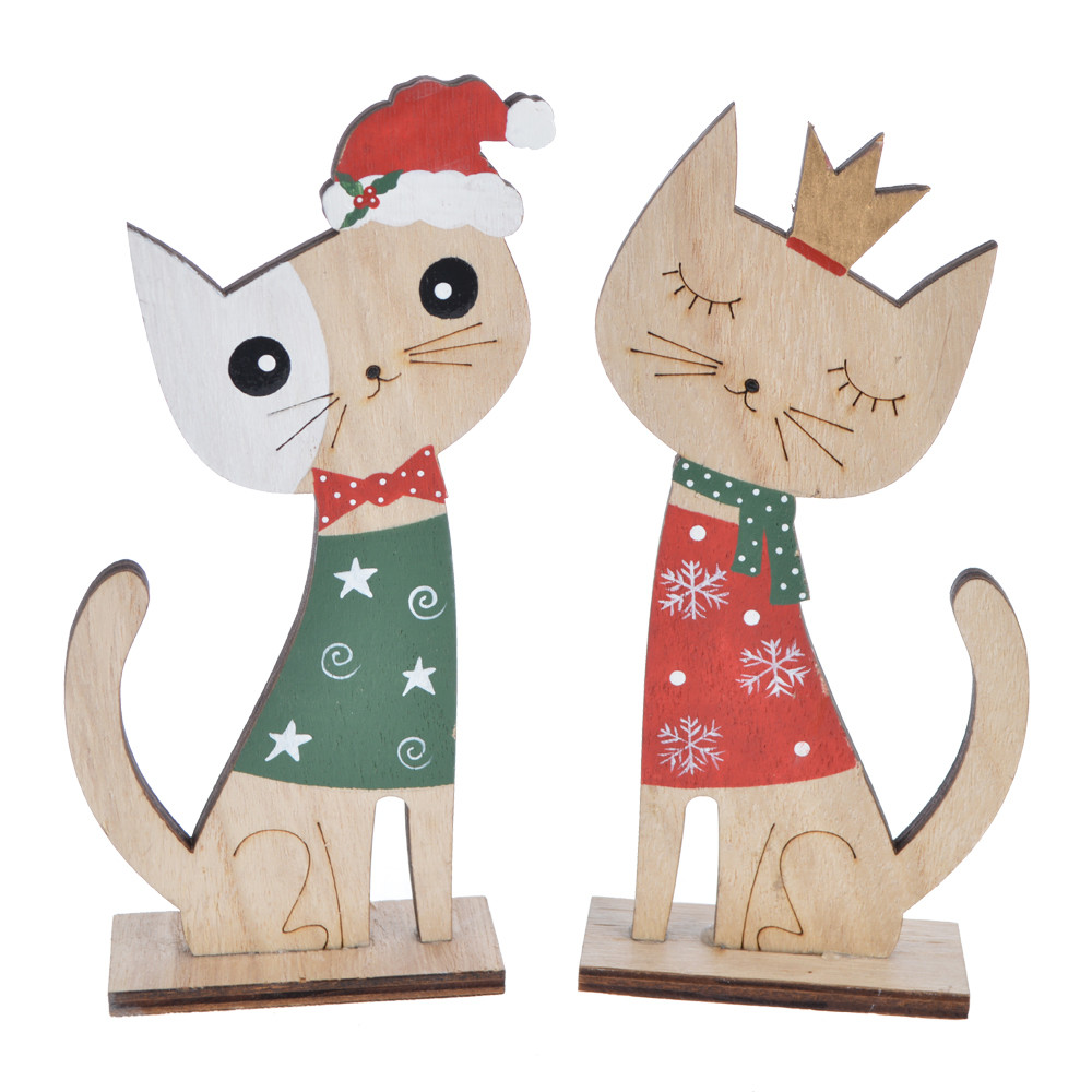 New wooden winter Christmas kitten with a hat decoration for 2020