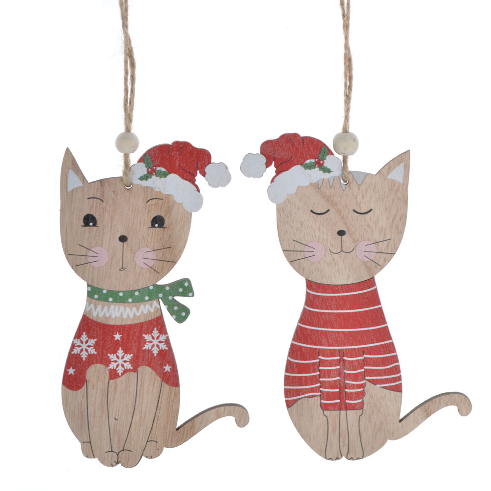New wooden winter Christmas kitten pendant with hat for 2020