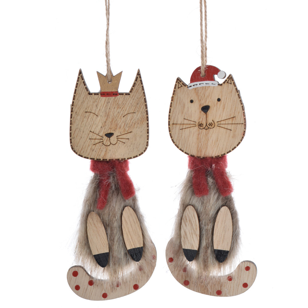 Rustic Wooden winter cat Christmas plush hanging ornament
