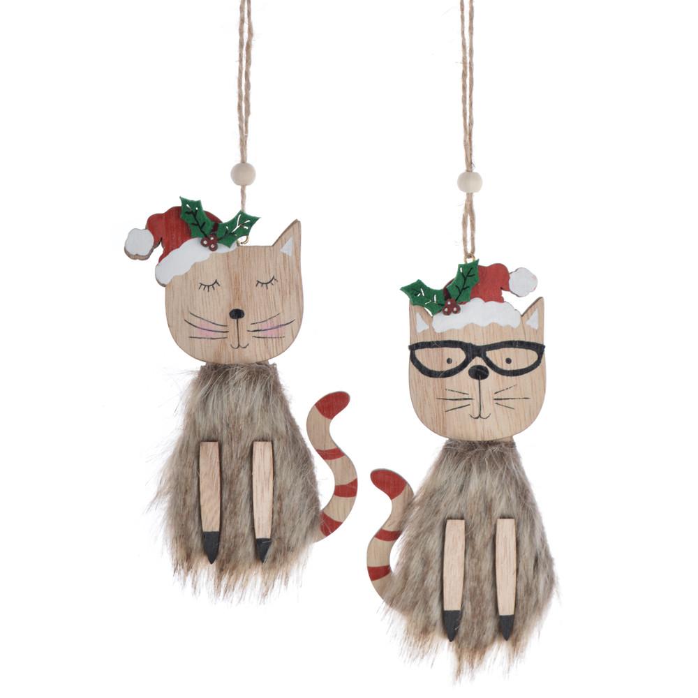 Wooden winter soft fluffy cat wears Christmas hat pendant