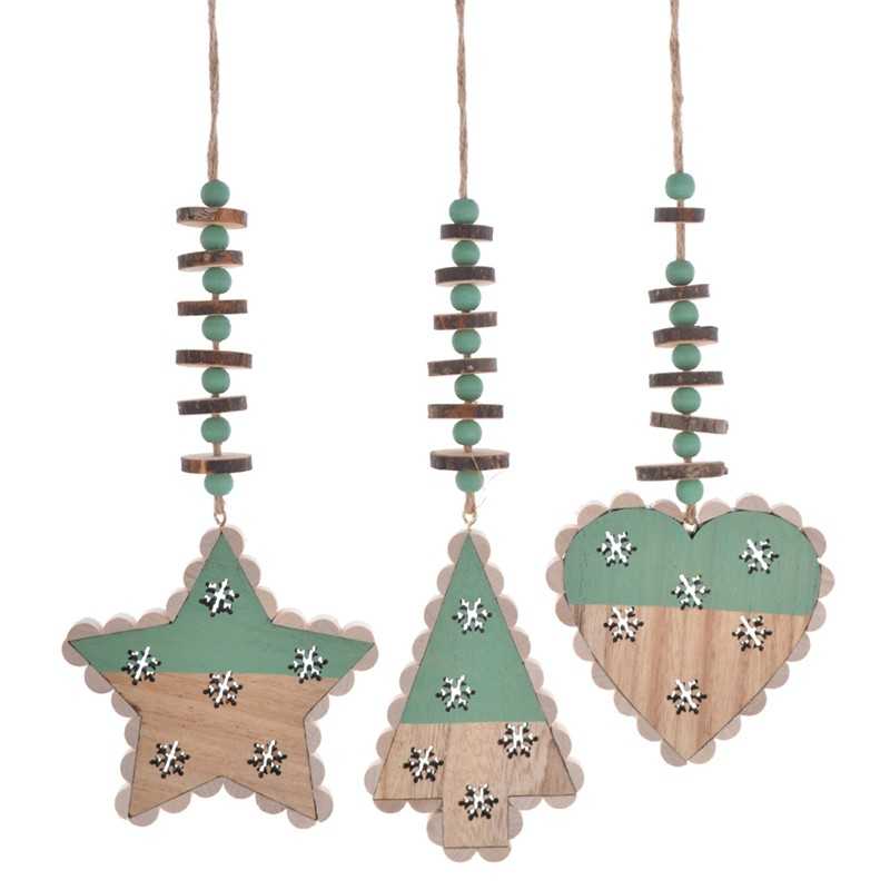 Wooden star tree heart garland with the beads Hanging decoration