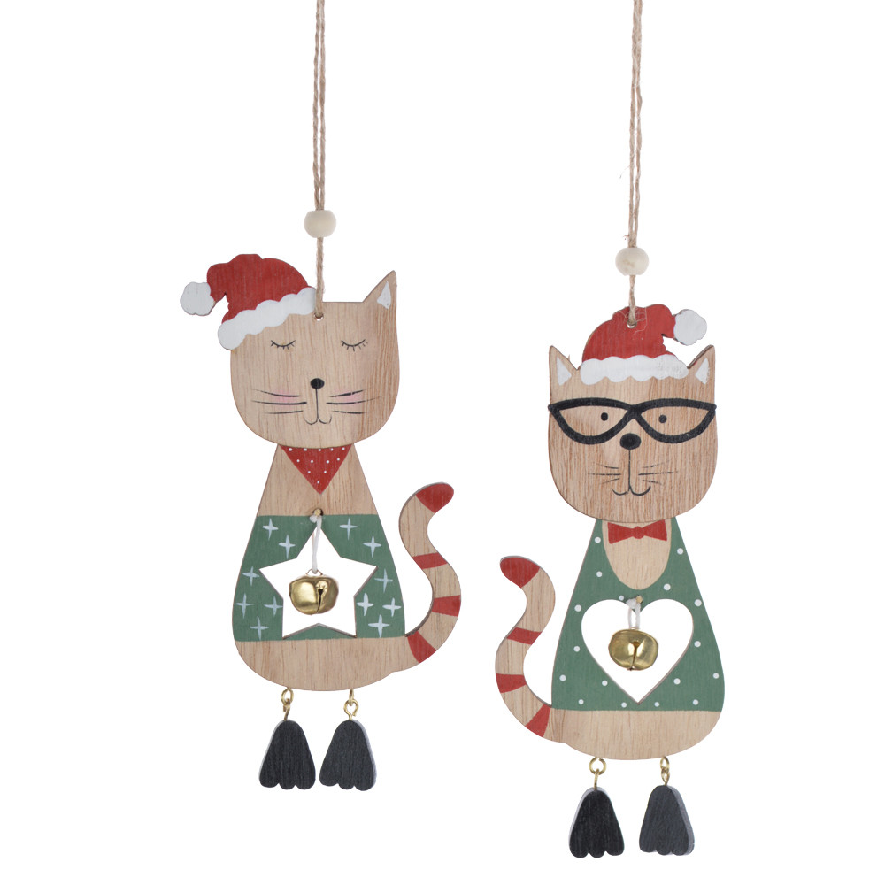 Wooden winter cute cat with christmas hat bell pendant