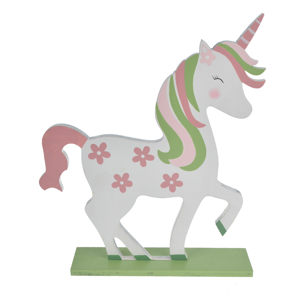 Wooden Easter spring colorful unicorn table decorations
