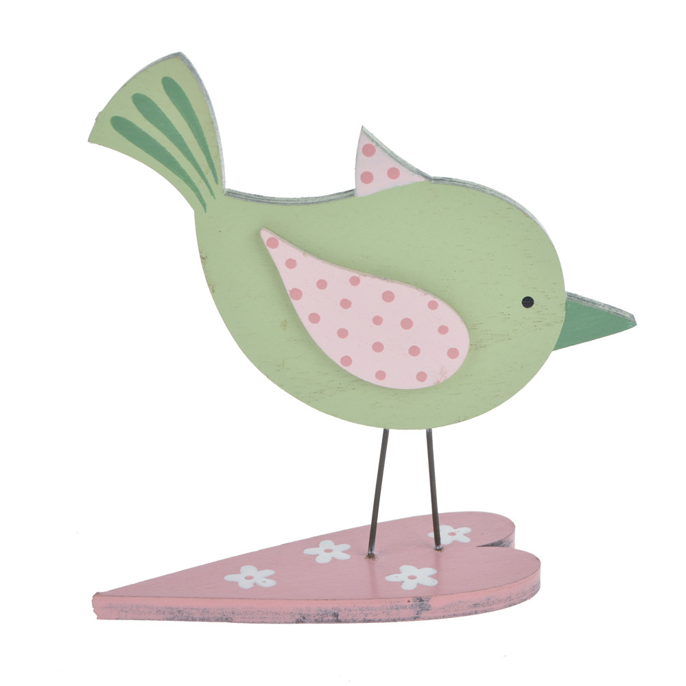 Wooden Easter spring bird table decoration