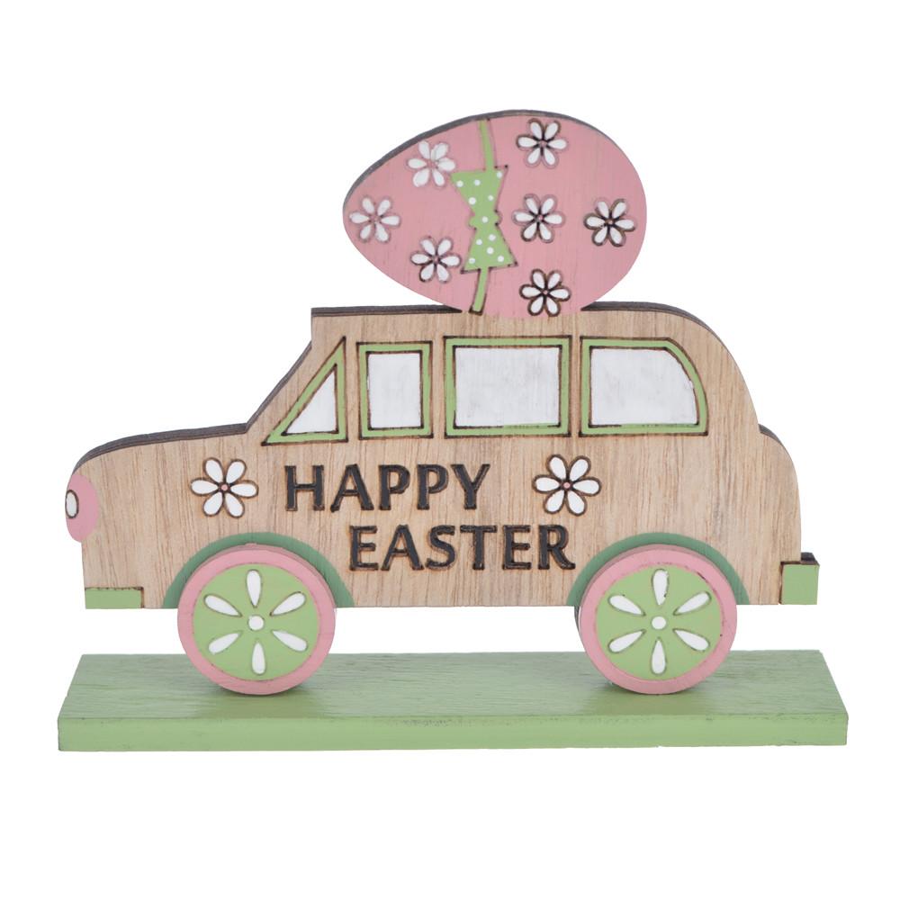 Wooden Easter spring color car tabletop decoration