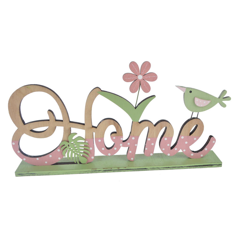 Wood spring pink and green color bird letter home Easter decoration