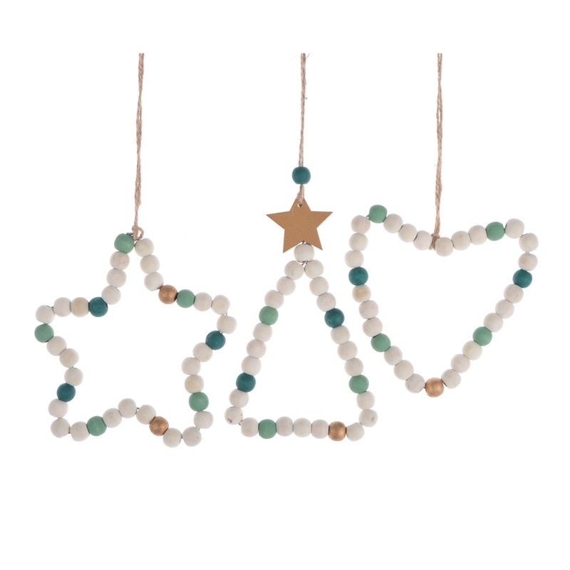 DIY wooden beads christmas heart star tree wall door hanging